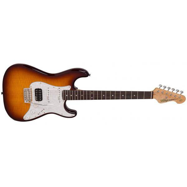 VINTAGE FST REISSUED V6 CUSTOM FLAME TOBACCO BURST