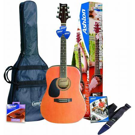 PACK GUITARRA ACUSTICA ASHTON DREADNOUGHT NATURAL ZURDA