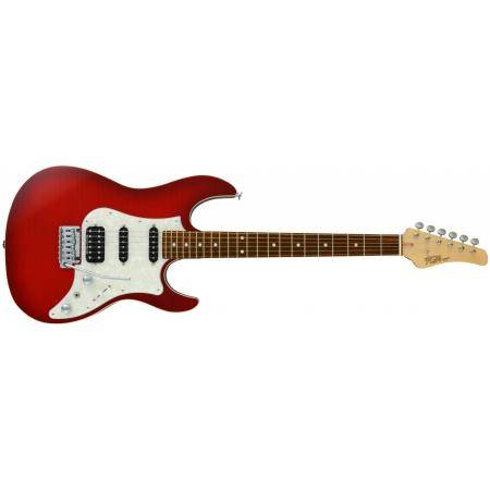 GUITARRA FUJIGEN FGN SERIE ODYSSEY J-STANDARD COLOR TRANSPARENT RED BURST DIAPASON GRANADILLO
