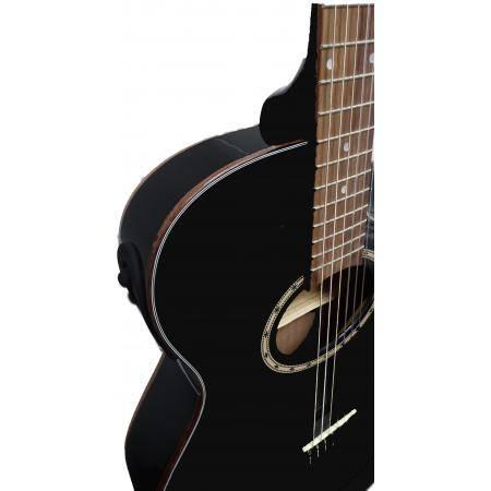 Guitarra Electroclásica Super Flat Memphis Negra A95NCETB