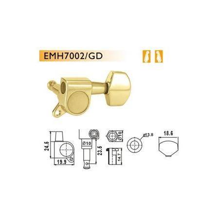 Clavijas Guitarra Eléctrica Dr Parts EMH7002/GD