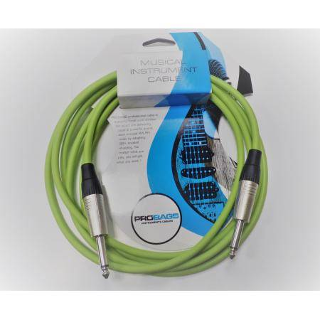 PROBAGS CABLE INSTRUMENTO 3M JACK MONO GREEN NEON