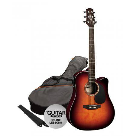 SPD25CEQTSB Pack Guitarra Electroacustica Dreadnought Tobacco Ashton