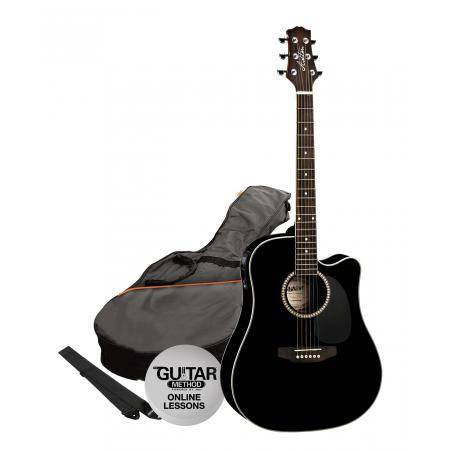 SPD25CEQBK Pack Guitarra Electroacustica Dreadnought Negra Ashton