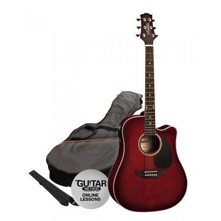 SPD25CEQWRS Pack Guitarra Electroacustica Dreadnought Vino Ashton