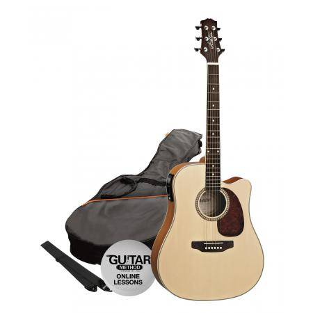 SPD25CEQNTM Pack Guitarra Electroacustica Dreadnought Natural Mate Ashton