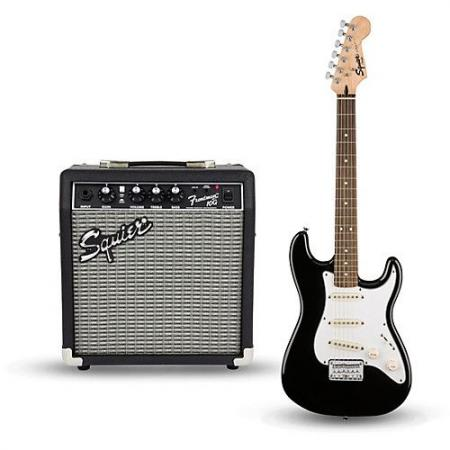 SQUIER PACK STRAT SHORT SCALE SQ10G NEGRO GUIT. E.