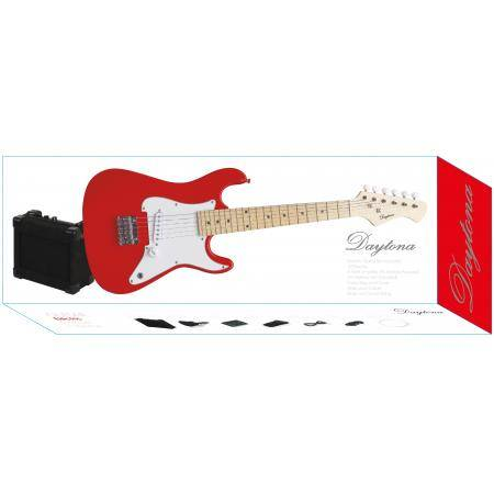 PACK GUITARRA ELECTRICA JUNIOR DAYTONA TIPO STRATOCASTER ROJO